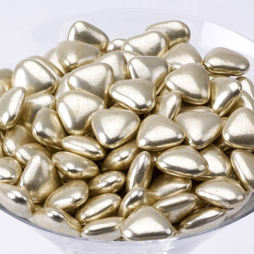 Mini Heart Dragees - Gold