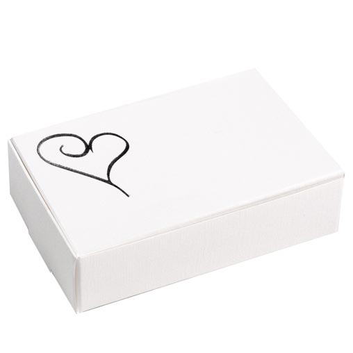 Contemporary Heart Cake Boxes - White & Silver