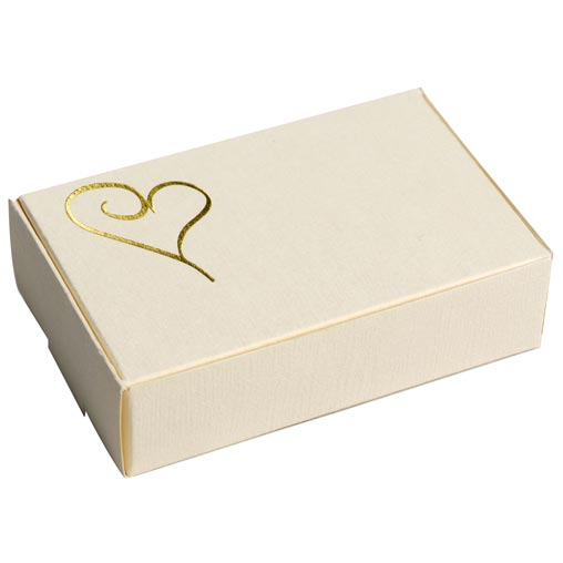 Contemporary Heart Cake Boxes - Ivory & Gold 10 Pack