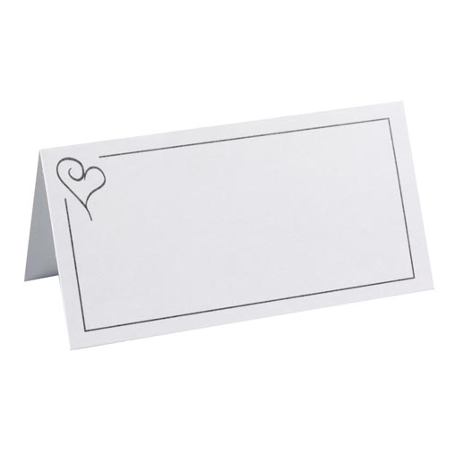 Place Cards - Contemporary Heart Silver