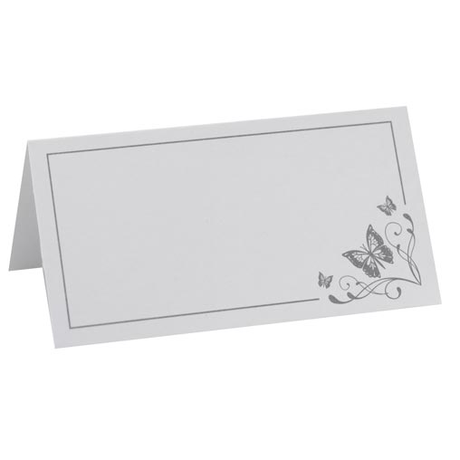 Place Cards - Elegant Butterfly - White/Silver
