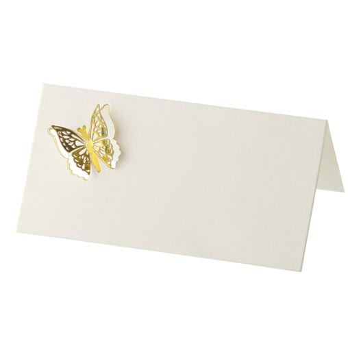 Place Cards - 3D Elegant Butterfly 10 Pack - Gold