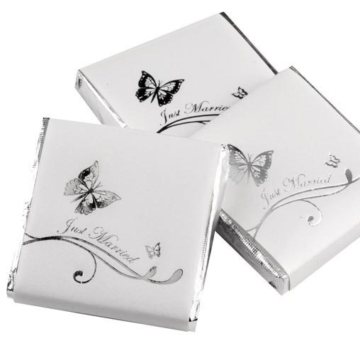 Just Married Chocolates - Butterfly - Silver