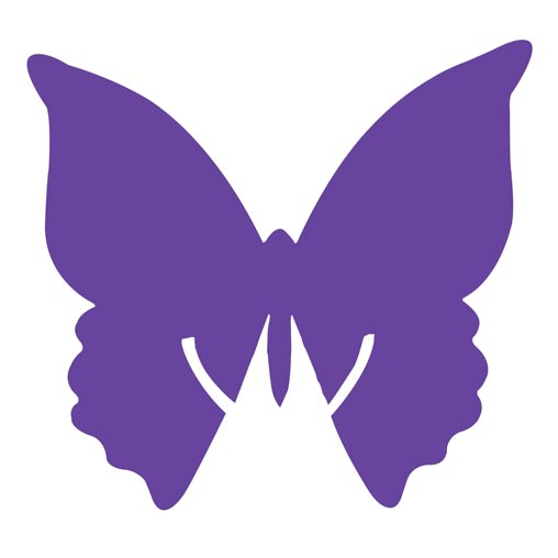 Place Card on Glass - Butterfly - Purple