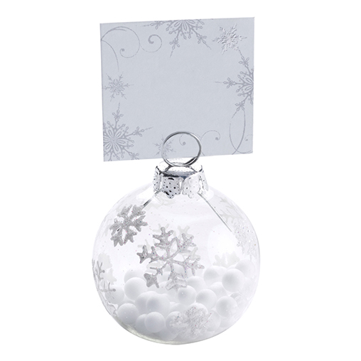 Shimmering Snowflake - Bauble Place Card Holders - 6 Pack