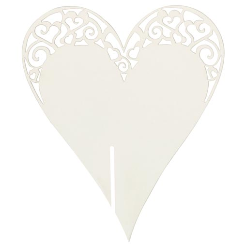 Place Card on Glass - Laser Cut  White Heart