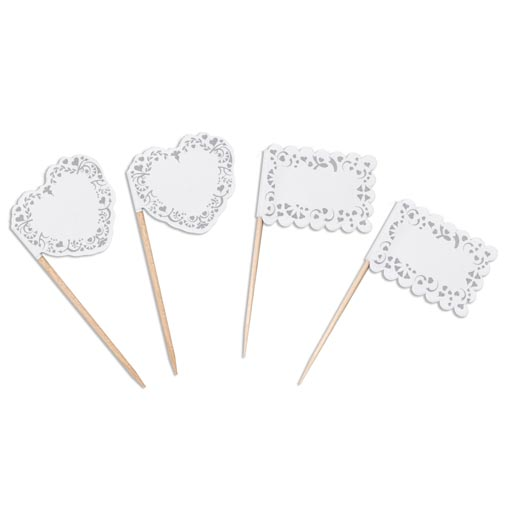 Vintage Romance - Food Flags - White & Silver