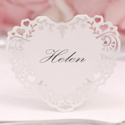 Vintage Romance - Free Standing Laser Cut Place Card - White