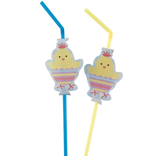 Easter Chick Drinking Straws