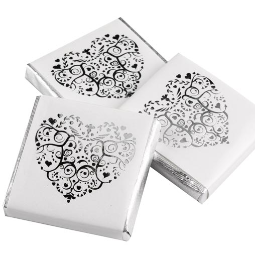 Vintage Romance - Chocolate Squares - White/Silver