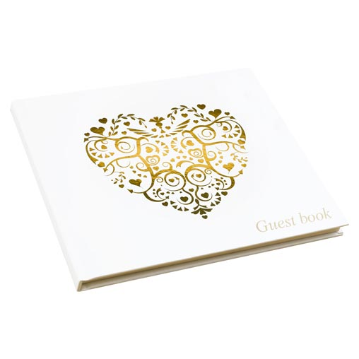 Vintage Romance - Guest Book - Ivory/Gold