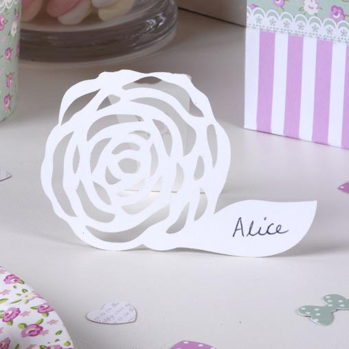 Frills & Spills - Free Standing Place Card - White