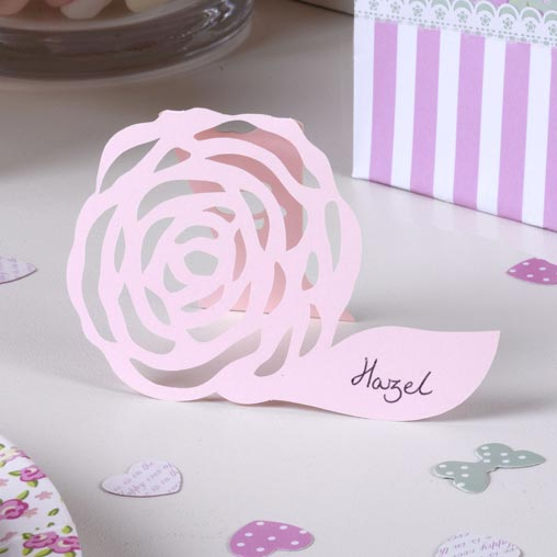 Frills & Spills - Free Standing Place Card - Pink