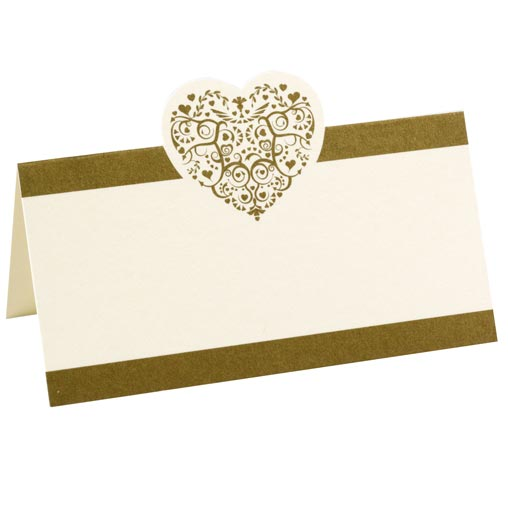Vintage Romance - Place Card - Ivory/Gold