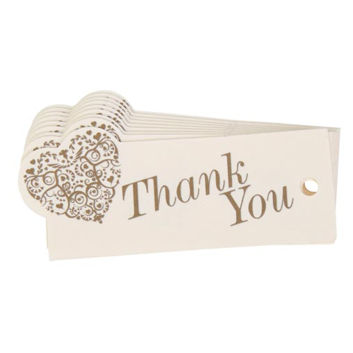 Vintage Romance - Luggage Tags - Thank You - Ivory/Gold 10