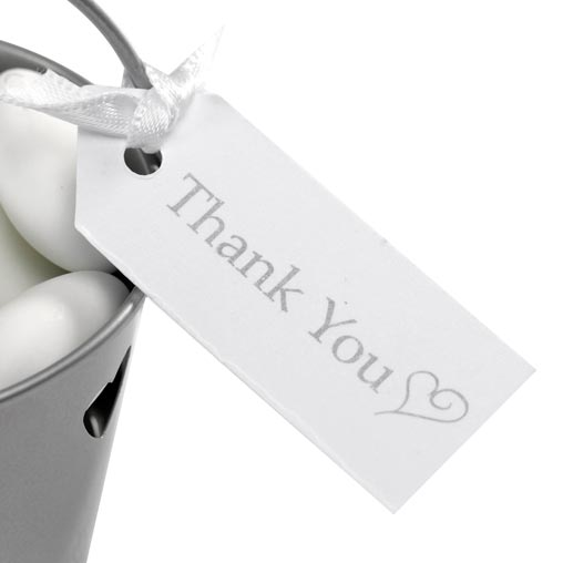 Contemporary Heart - Luggage Tags - Thank You White/Silver 10