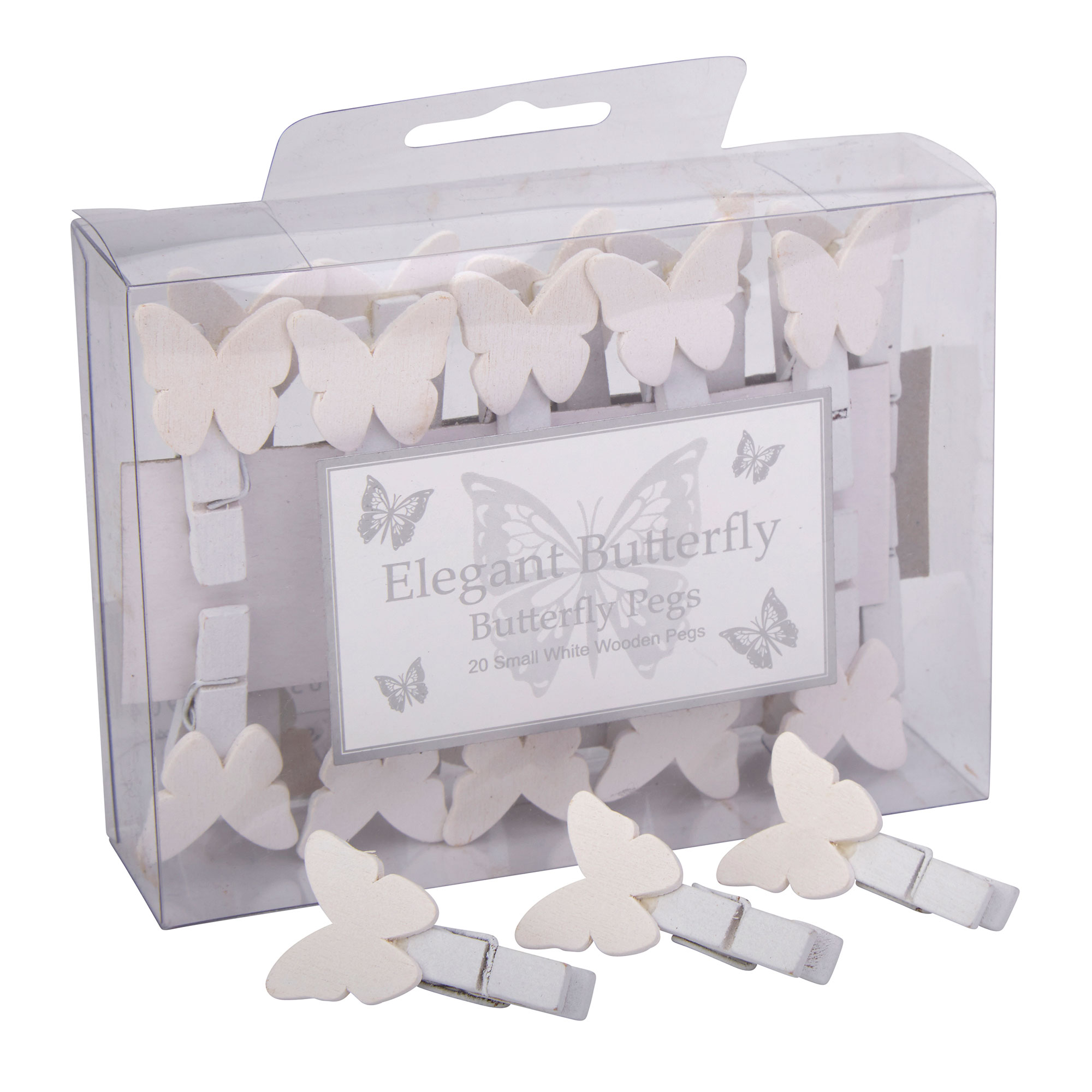 White Butterfly Pegs - 20 Pack