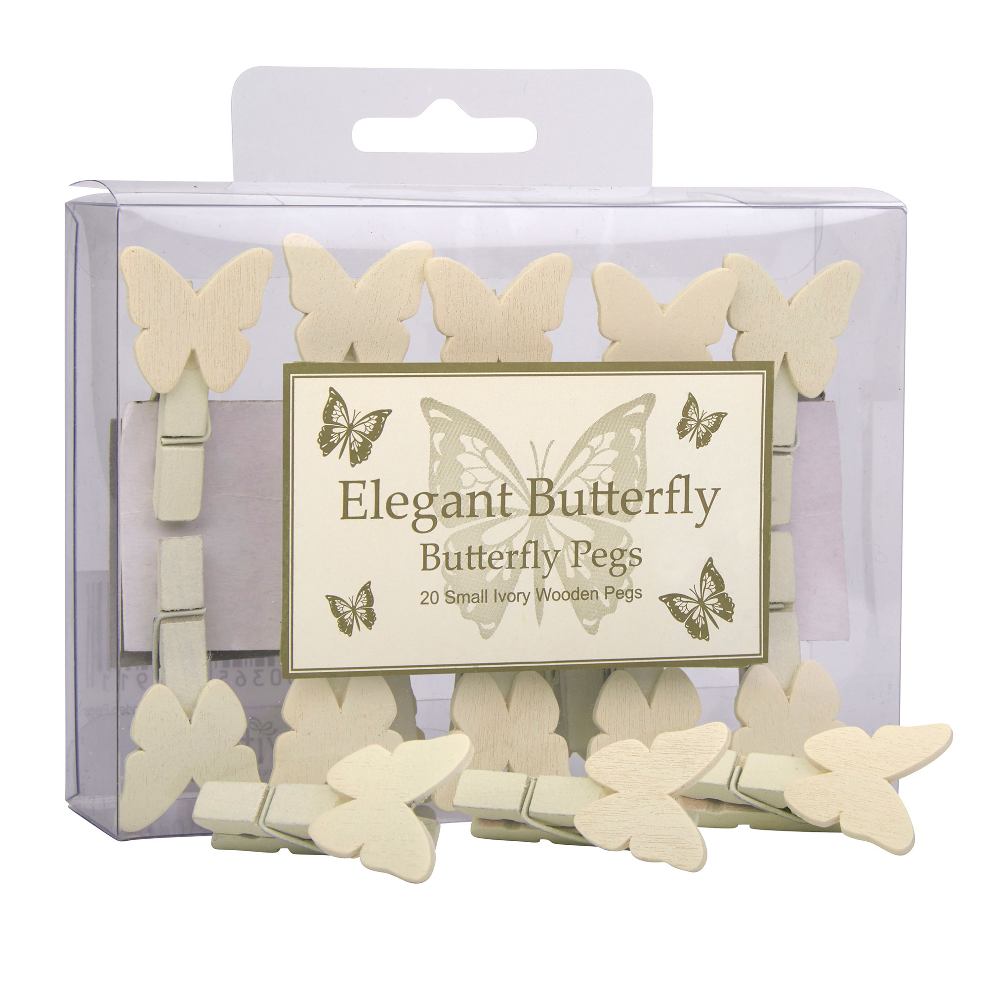 Ivory Butterfly Pegs - 20 Pack