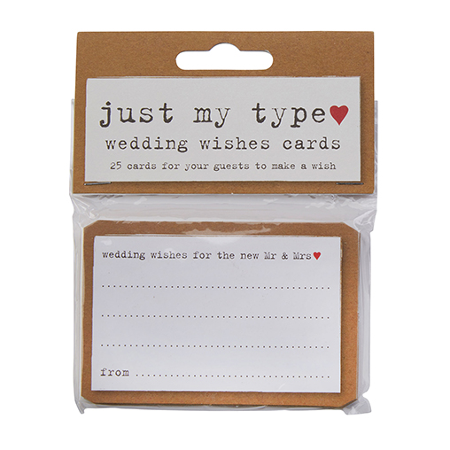 Just My Type - Wedding Wishes Cards