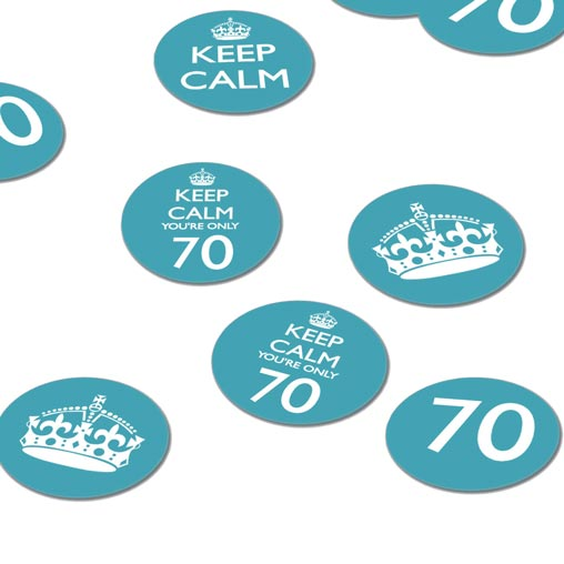 Keep Calm 70th Confetti - Blue