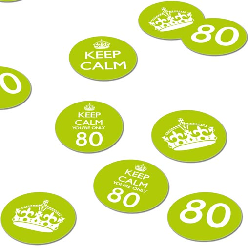 Keep Calm 80th Confetti - Green