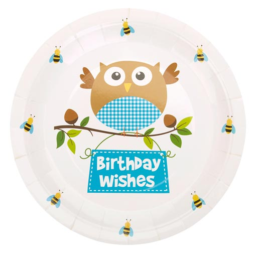 Little Owls - Birthday Wishes Plates - Blue