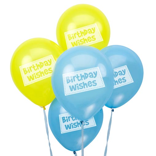 Little Owls - Birthday Wishes Balloons - Blue
