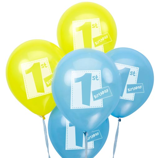 Little Owls - 1st Birthday Balloons - Blue