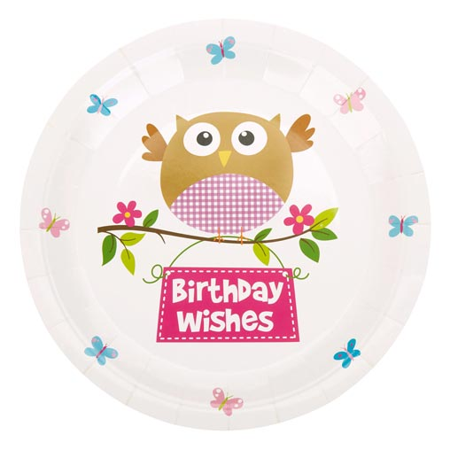 Little Owls - Birthday Wishes Plates - Pink