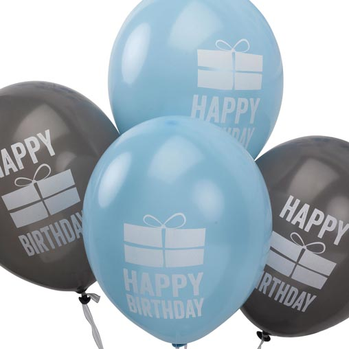 Happy Birthday - Balloons - Blue