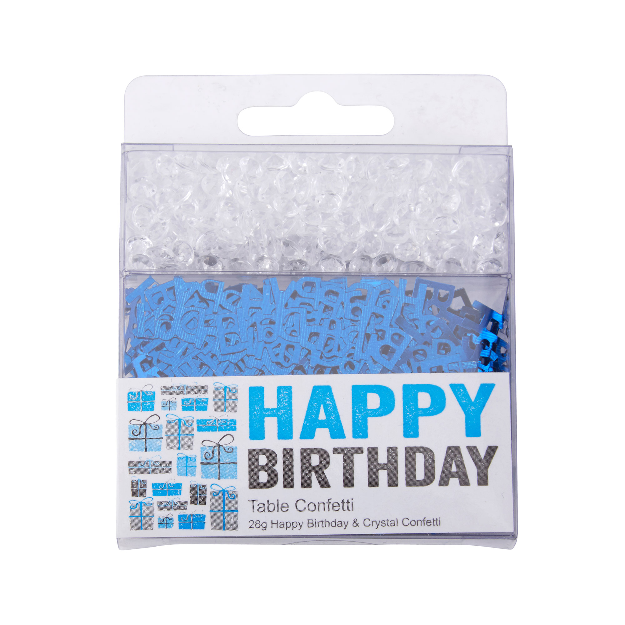 Happy Birthday - Confetti & Crystals - Blue