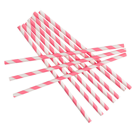 Paper Straws - Stripes Pink