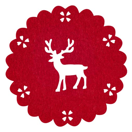 Reindeer Felt Coaster - 4 - Red