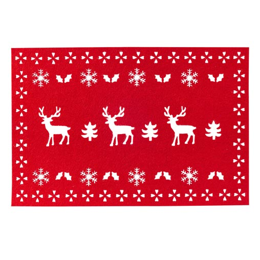 Reindeer Felt Placemats - 4 - Red