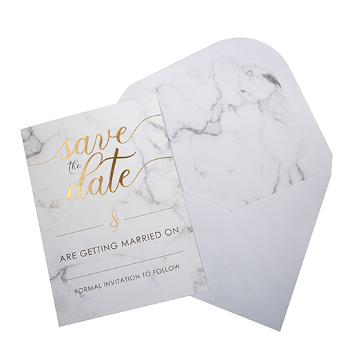 Scripted Marble - Save The Date Cards with Envelopes