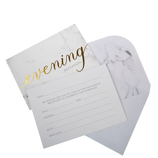 Scripted Marble - Evening Wedding Invitations with Envelopes