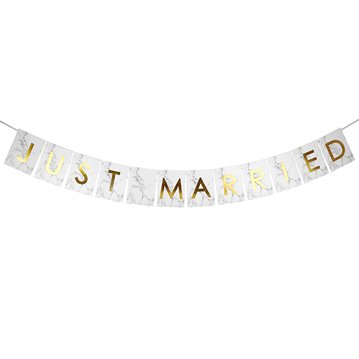 Scripted Marble - Just Married Bunting Large