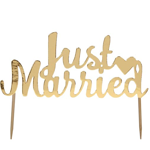 Scripted Marble - Just Married Cake Topper