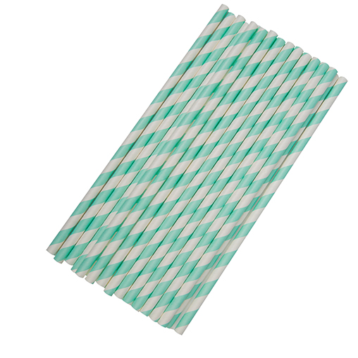 Paper Straws Stripes - Teal