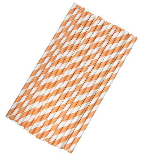 Paper Straws Stripes - Peach