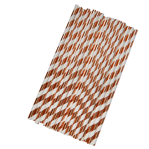 Paper Straws - Stripes - Rose Gold Foil