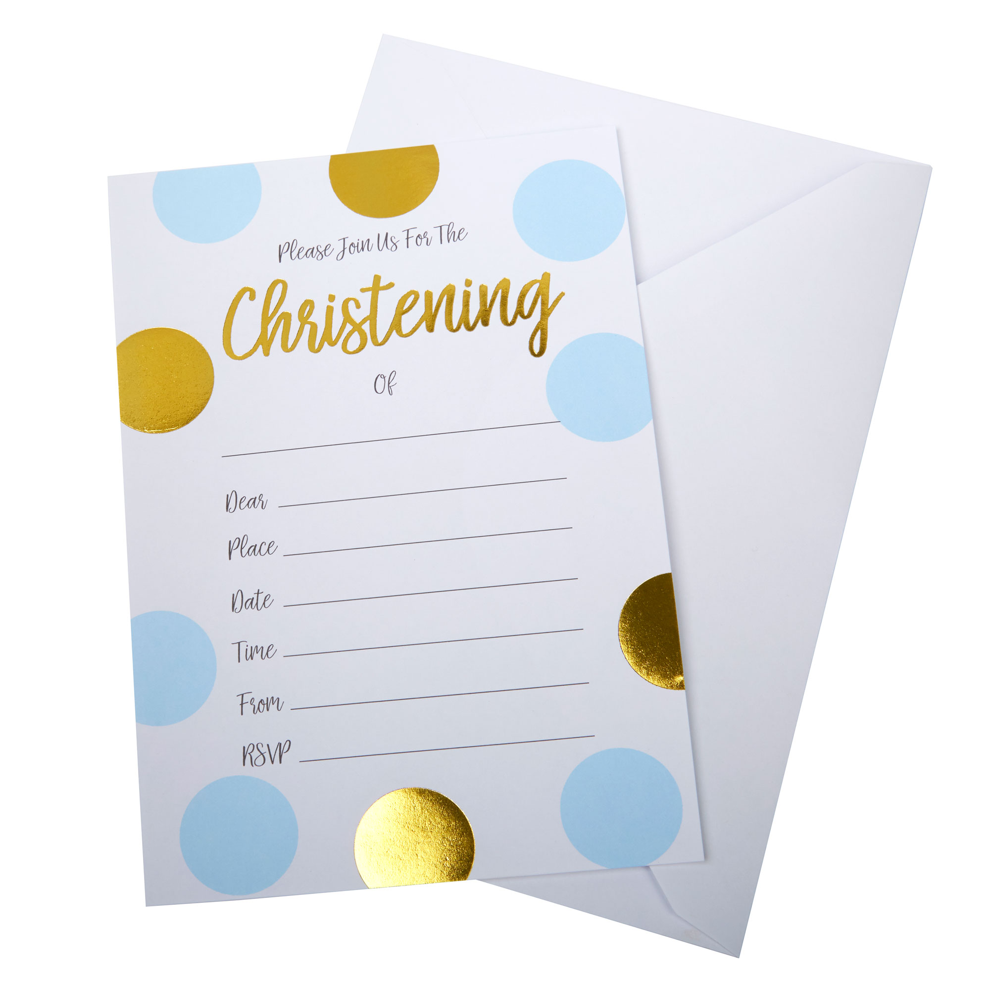 Pattern Works - Christening Invitations with Envelopes Blue