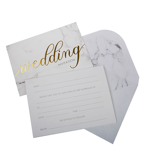 Scripted Marble - Wedding Invitations with Envelopes