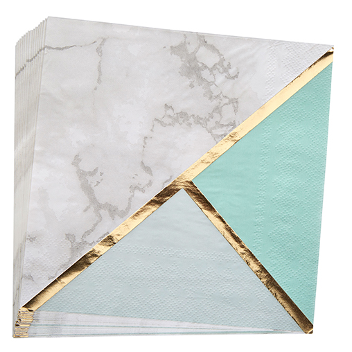 Colour Block Marble Paper Napkin - Mint