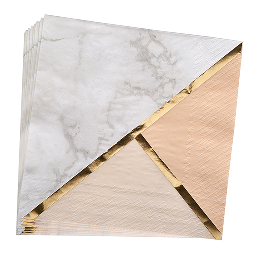 Colour Block Marble Napkin - Peach