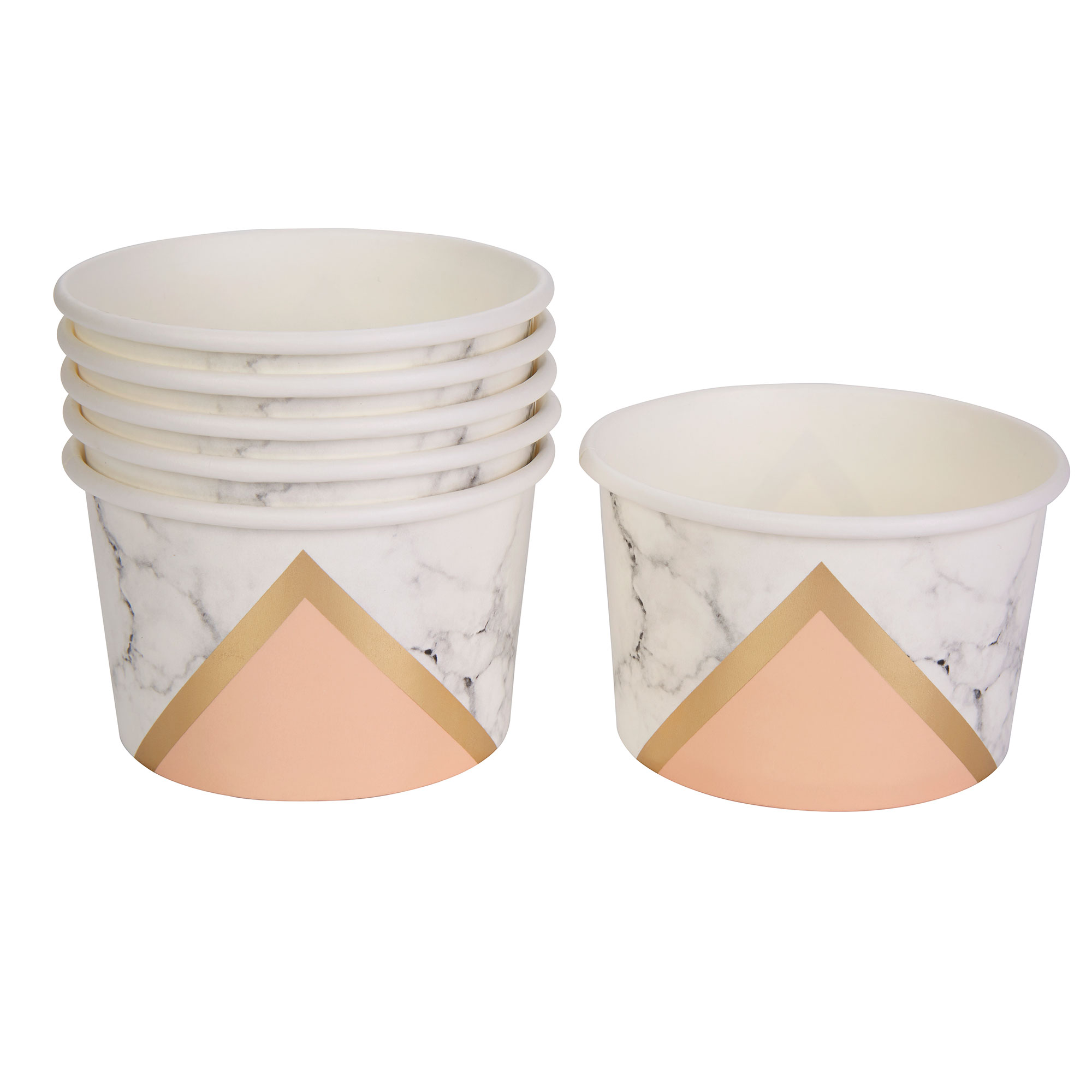 Colour Block Marble Tub - Peach