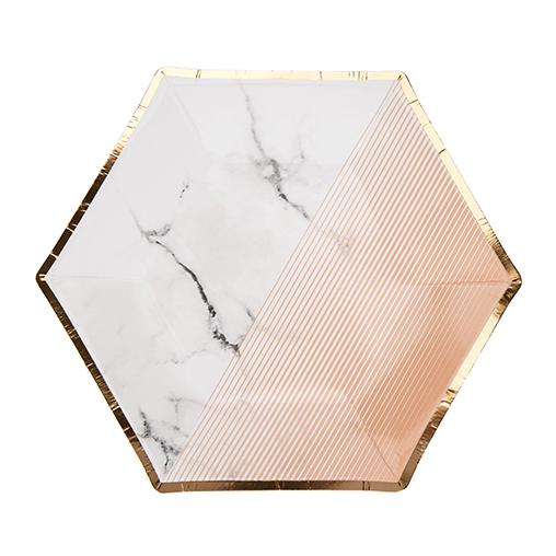 Colour Block Marble Plate - Peach - Medium