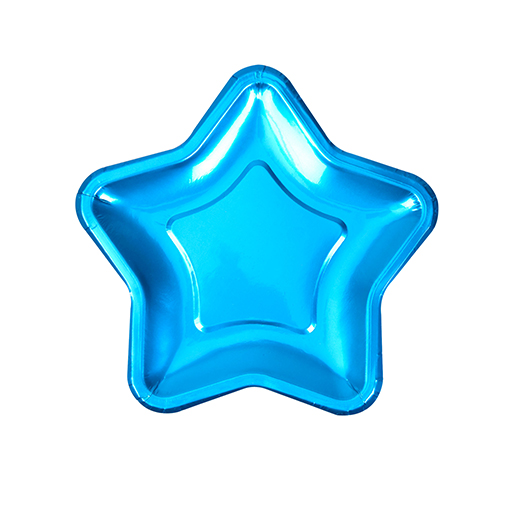 Foil Star Plate - Small - Blue