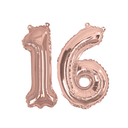 Rose Gold Foil Balloons - Number 16