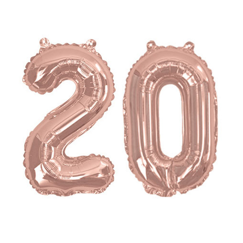 Rose Gold Foil Balloons - Number 20